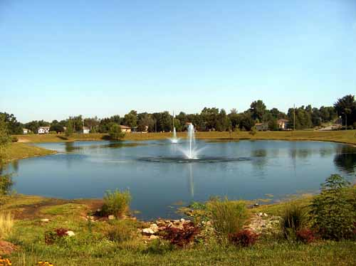 Somerset Park pond with fountains